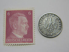 WW2 Artifact German Army 1 Reichspfennig Coin + Original A.H. Stamp