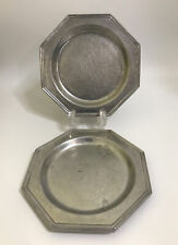 2 Octagon 7 Inch Pewter Plates USA