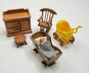 Dollhouse Furniture Baby Nursery Room 4 Wood Pieces Plastic Buggy and Baby Doll