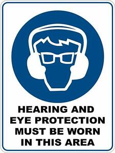 Hearing and Eye Protect - Mandatory Safety Sign Plaquard Sticker Decal OHS WHS