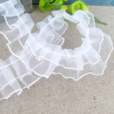 New Pleated Gathered Mesh Trim Ruffled Sewing Lace Ribbon DIY Craft White 1yd