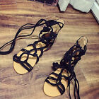 Mujer Sandalias Botas Hasta la Rodilla Con Cordones Zapatos