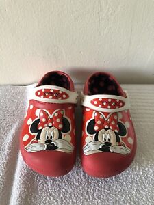 CROCS Minnie Mouse Lined Clogs Girls 12-13 Red/White