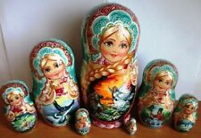 """Czar Saltan Fairy Tales7 PCS 8.6"""" Author's NESTING DOLL STACKING DOLLS from USA"""