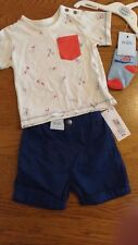 BNWT baby boy summer outfit. M&S. T-shirt/shorts/socks. 6-9 months.  1/11