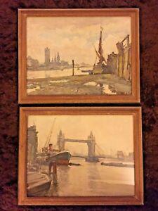 2 Nicolas Markovitch `Marc`  Paintings London Tower Bridge Houses of Parliament