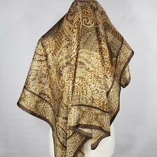 "Adrienne Landau Studio - Gold and Brown Paisley and Leopard 34"" Silk Scarf"