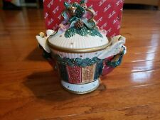 Fitz And Floyd Damask Christmas Angel Pinecones Covered Candy Bowl1995 Nib