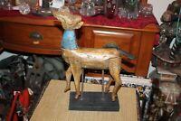 Folk Art Wood Reindeer On Stand Primitive Wood Deer Animal Country Decor