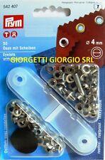 OCCHIELLI con RONDELLE 4mm PRYM Argento occhiello vela metallici Pinza 542407