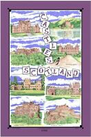Castles of Scotland Cotton Tea Towel by Samuel Lamont