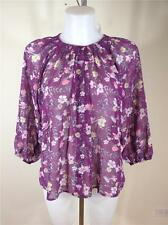 FAMOUS CATALOG SHEER CHIFFON CINCH NECK BUTTON DOWN BLOUSE TOP PURPLE SZ SMALL