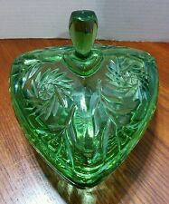 Vintage Green Glass Candy Dish With Lid - Triangle Shape Pin Wheel design