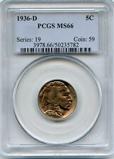 1936-D BUFFALO NICKEL PCGS MS66*GREAT COLOR & LUSTER*HIGHLY SOUGHT GEM*HM