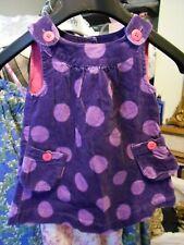 John Lewis funky purple spot corduroy pinafore girls dress Age 3-6 Months Pocket