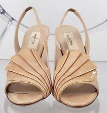 Valentino sz 35.5 nude beige fan shoes open toe slingback rockstud