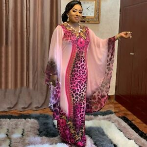 Women African Print Dashiki Cloth Plus Size Dress Batwing Sleeve Ankara Dresses