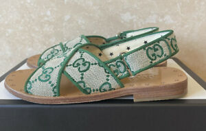 Authentic GUCCI Girls Green Canvas GG Sandals Size 23/UK 6