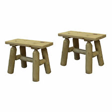 Lakeland Mills White Cedar Log Wood Outdoor Patio End Side Bench, Natural (Pair)
