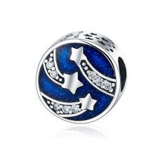 925 Sterling Silver Blue Enamel & Clear CZ Star European Charm Bead fit Bracelet