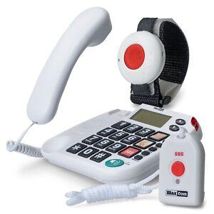 Maxcom KXSOS: Seniorentelefon mit Funk-Notruf-Sender, schnurgebunden