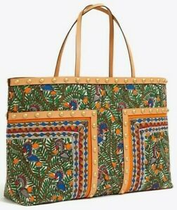 NWT TORY BURCH BLOCK-T Studded OVERSIZED Tote In ORANGE SOMETHING WILD Printed