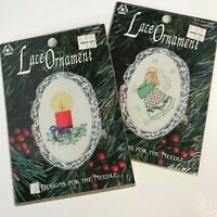 LOT of 2 Mini Vintage Cross Stitch Kits, Christmas Ornaments 1990s, Angel Candle
