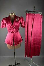 VTG Women's 40s Satin Maroon Pajamas 2 Pc Outfit Sz S #2897 1940s Sleepwear