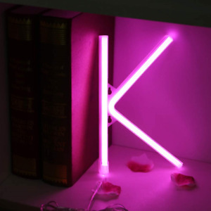 LED Neon Words Night Light Up Pink Alphabet Neon Signs Marquee Decor for Party K