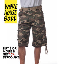 PROCLUB PRO CLUB MENS CASUAL CARGO SHORTS PLAID SHORTS PLAIN CAMO BDU ARMY SOLID