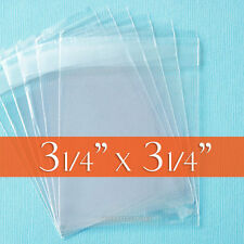 100 Cellophane 3 1/4 x 3 1/4 Inch Clear Bags; OPP Poly,Reclosable Adhesive Cello