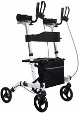 ELENKER 9210KDB Upright Walker, Stand Up Folding Rollator Back Erect WHITE