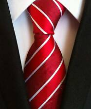 New Classic Striped Red White JACQUARD WOVEN 100% Silk Men's Tie Necktie