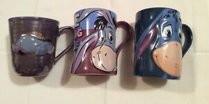 3 x Disney Mug Highly Collectable Cup Winnie The Pooh Eeyore Large Blue  Donkey