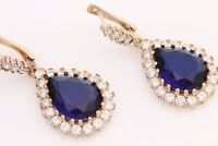 Turkish Jewelry Drop Cut Shiny Sapphire Topaz 925 Sterling Silver Earrings