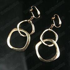 CLIP ON chunky interlocking hoops GOLD FASHION HOOP DROP EARRINGS square hoop