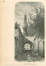 Dinant Collégiale Notre-Dame Namur Wallonie GRAVURE ANTIQUE OLD PRINT 1880