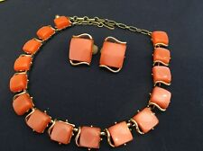 """Very Early Coro Lucite Necklace Clip on Earrings Orange on Silver tone Links 16"""""""
