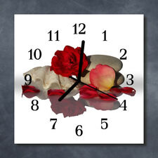 Glass Wall Clock Kitchen Clocks 30x30 cm silent Rose Shell White