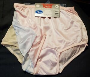 3 Pair Size 8 Assorted Nylon Tricot Brief Panty USA Made Roses CLOSE OUT!!