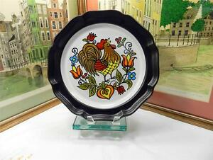 """MIKASA EARLY MORN D2002 BROWN PEASANTRIES ROOSTER CENTER 12 1/2"""" CHOP PLATE"""