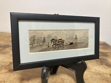 More details for stunning antique silk woven stevengraph 1800's farmers and horses plough art