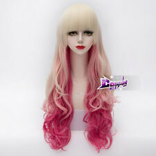 75CM Blonde Pink Magenta Mixed Long Curly Hair Lolita Cosplay Wig + Wig Cap