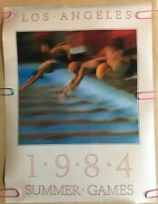 Original Vintage 1984 Olympics poster Olympic summer games Los Angeles Swimming