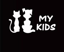 Dog cat kids pets love white car decal sticker truck motorcycle