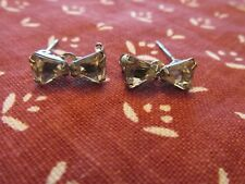 "Rhinestone Bow Pins 5/8"" Vintage Pair of Silver"