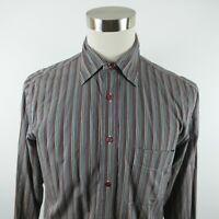 Faconnable Mens Cotton LS Button Down Red White Blue Striped Dress Shirt Medium