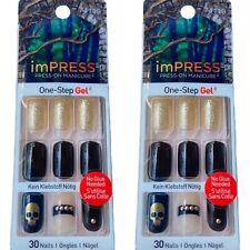 2x Kiss Nails Impress Press On Manicure Medium Gel Black Gold Skull Halloween