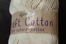 2 X 100gm Wendy Cream Pure Natural Craft Cotton Yarn