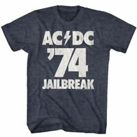 ACDC '74 Jailbreak T-Shirt Sizes SM - 5XL Angus Young Mens New Navy Heather